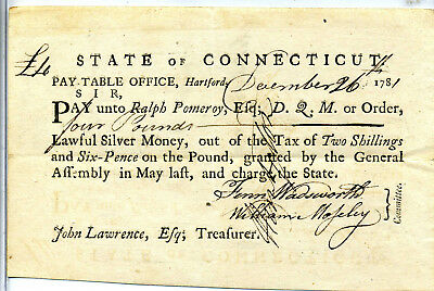 Revolutionary War Pay Document Signed By Major General Jedediah Huntington 1781