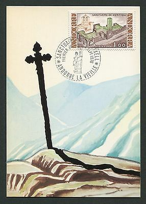 ANDORRA MK 1976 KIRCHE MERITXELL CHURCH MAXIMUMKARTE MAXIMUM CARD MC CM d336