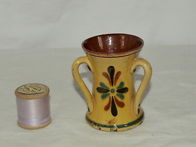 Aller Vale Torquay Pottery 3 Handle Amber Glaze Vase With Kerswell Daisy Pattern