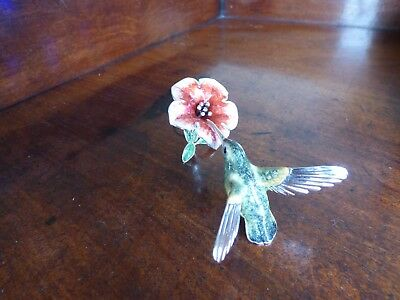 A Silver & Enamel Hummingbird & Hibiscus Ornament Made By Saturno
