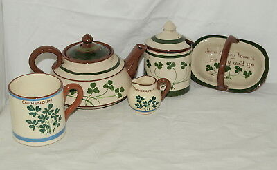 SMALL COLLECTION OF SHAMROCK PATTERN LONGPARK TORQUAY POTTERY  Irish Torquay