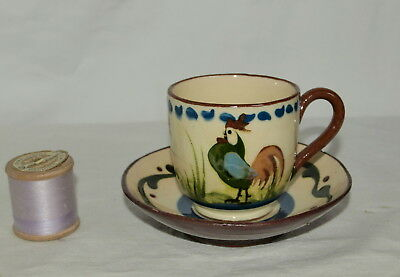 Tormohun Longpark Torquay Pottery Cup & Saucer With Cockerel Decoration