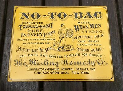 Vintage Embossed Steel Pressed Tin Sign Quack Medicine No-To-Bac Tobacco Cure
