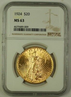 1924 US St. Gaudens $20 Double Eagle Gold Coin NGC MS-63 B