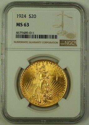 1924 US St. Gaudens $20 Double Eagle Gold Coin NGC MS-63 C