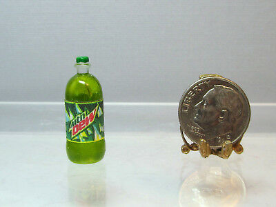 Dollhouse Miniature Plastic Dew Soda Bottle