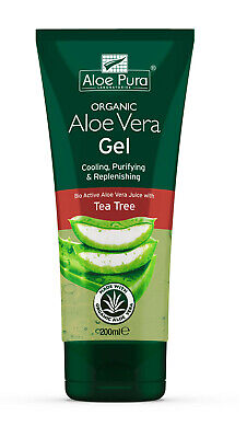 2 Packs of Aloe Pura Skin Treatment - Aloe Vera Organic Gel with Tea Tree -200ml