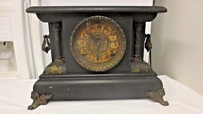Vintage Ingraham Chiming Mantel Clock-Ornate Handled, Claw Foot, 2 Column-AS IS