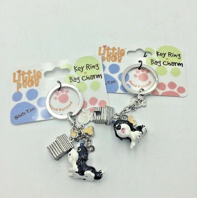 2 Enamel SHIH TZU Key Chain Rings LITTLE PAWS  Charm Dog House Paw Bone