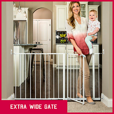 Safety Gate Baby Kids Extra Wide Walk Through Security Dog Pet Door Gate Fence ✅