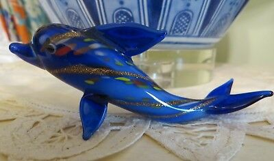 Glass Blue Dolphin with Gold Stripes