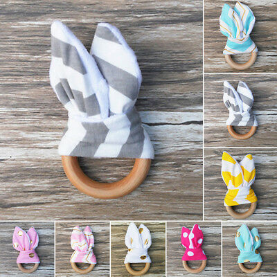 Safety Wooden Natural Baby Teething Ring Chewie Cute Teether Bunny Sensory Toy