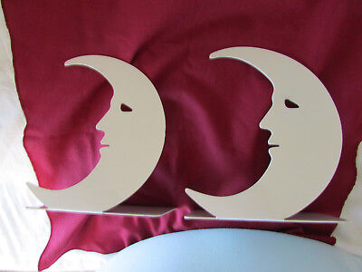 Vintage Mid Century White Painted Metal Bookends Smiling Crescent Moons by Moxie