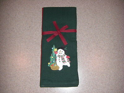 2 Longaberger Baskets Bluster the Snowman Christmas Kitchen Towels - Red & Green