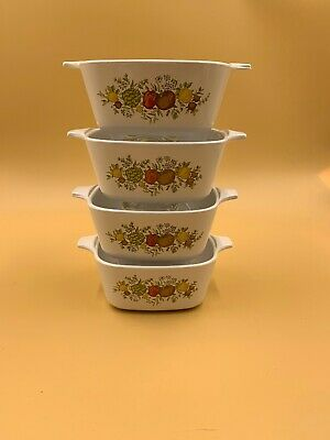 Corning Ware Spice Of Life Petite Pans, Set Of 4, 1 P-41-B With Lid, 3 P-43-B