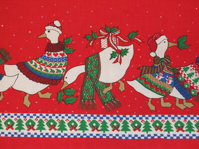 Vintage Christmas Tablecloth Red with Ducks Oval 82x60 Vivid Colors Brazil #215