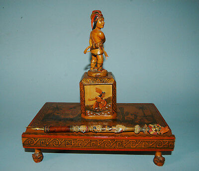 Very Rare Mexican Carved Desk Set With Carved Pen