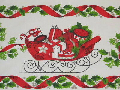 vintage christmas tablecloth white red sleighs gifts 62x51 218
