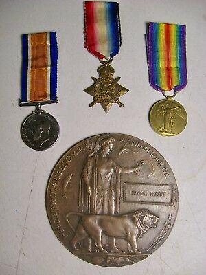 GREAT WAR 1914 STAR TRIO w. PLAQUE - TROTT/RIFLE BRIGADE