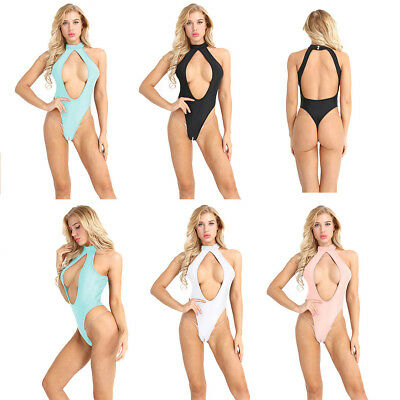 Women's Sexy Halter Cutout Jumpsuit Backless Open Crotch Leotard Bodysuit Night