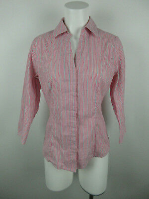 2746442ed2b Riders by Lee Women sz S Cotton Blend Button Down Striped Pink Blue Blouse  Top