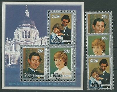 Niue 1981 Royal Wedding 421/23 Block 48 postfrisch (R5125)