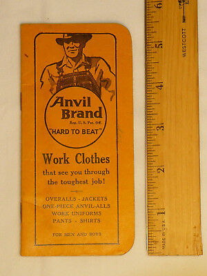 Anvil Brand Overalls Work Clothes High Point NC Pocket Notebook 1944