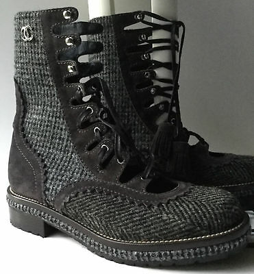 321c95ceb52 NEW CHANEL Runway Grey Suede & Tweed Lace-Up Ankle Boots (Size 38.5)