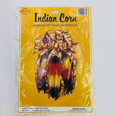 Vintage Beistle Hanging Indian Corn 14in Thanksgiving Fall Art Tissue 1981 99777