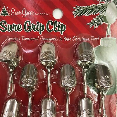 Christmas Ornament Hangers Sure Grip Clip Silver Tone Snowflake Lot of 2 Packs