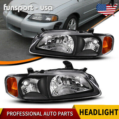 For 2000 2001 2002 2003 Nissan Sentra Headlight Factory Style Black Housing Pair