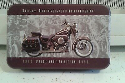 Harley Davidson 95th Anniv Limited Edition Tin with Two New Card Decks.