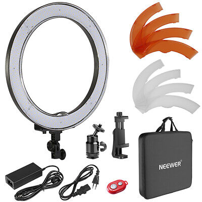 "Neewer Kit 18"" Luce LED Anulare con Supporto Clip Telecomando per Selfie Video"