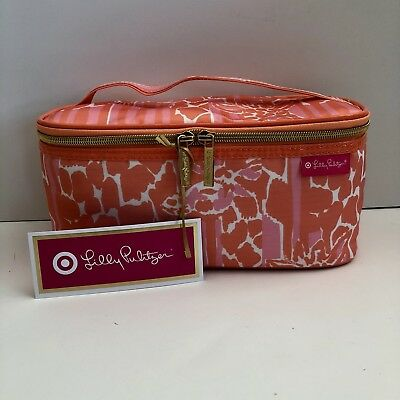 Lilly Pulitzer Cosmetic Train Case For Target Girafeeey Salmon Brand New!