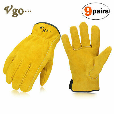 Two Pairs Habit® Premium Leather & Spandex Medium Work Gloves By Plainsman New Garden Clothing & Gear Personal Protective Equipment (ppe)