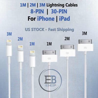 iPhone Lightning Cable 3/6/10 ft USB 8PIN 30PIN Charger MFi iPad 2 3 lot 6s 7 X