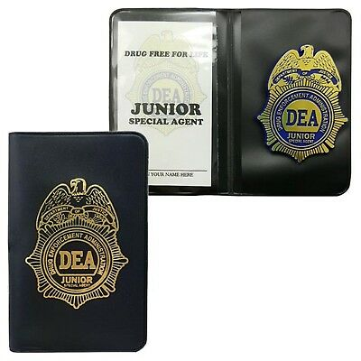 DEA JR. Plastic Badge & Fill In ID Credentials Great for Kids! +FREE DEA Sticker