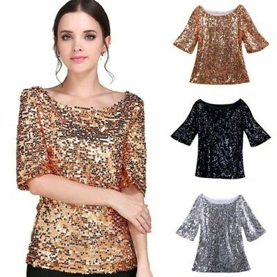 DONNA Estate Paillettes Decorazione Maglia Mezza Manica Casual Larga T-Shirt Bel