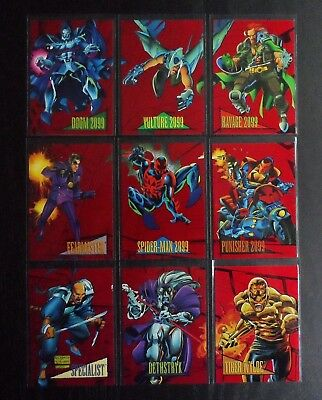 1993 Marvel Universe Series IV - Complete 9 Card Red Foil 2099 Set! Near Mint
