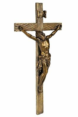 Bronze Wall Cross Crucifix Jesus Christ Marble Resin Religious Gift Display Lord