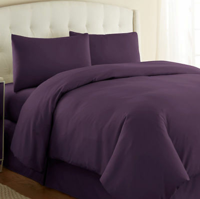 Aubergine Plain Dyed Duvet Cover Quilt Bedding Set With Pillowcase