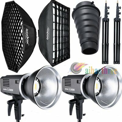 2Pcs Godox SLB-60W White Version Li-ion Battery LED Light +Softbox +Snoot +Stand