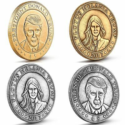 Donald and Melania Trump Antique Commemorative Coins. These 4 vintage gold and