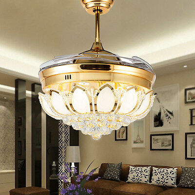 Luxury Gold Crystal Invisible LED Ceiling Fan Remote Control with Lights Lamp