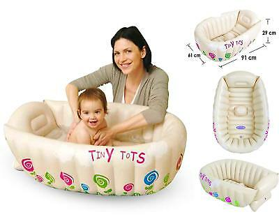 Tiny Tots Inflatable Baby Bath Tub Portable Travel Bathtub Sensor PHTHALATE FREE