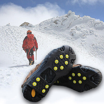 AntiSlip Ice Snow Men Shoes Spike Grip Crampons Grippers Rock Fishing Cli Dshq
