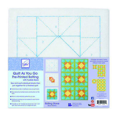 Quilt As You Go Pre-Printed Fusible Batting 6 Pack | Rolling Stone | JT1404