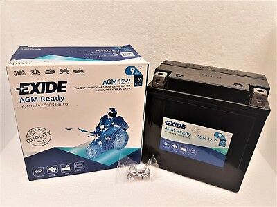 YB9-B EXIDE AGM 12-9 Sealed Battery Motorcycle Bike Scooter 12N9-4B-1