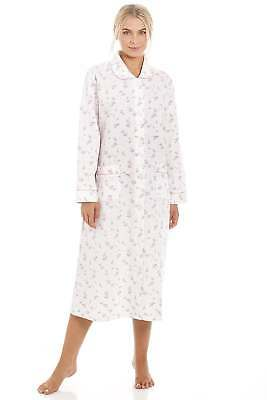 545eb258473d Camille Womens Classic Nightwear Pink Rose Print Quilted Button Front  Housecoat