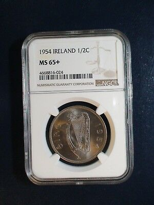 1954 Ireland HALF CROWN NGC MS65+ 1/2C Coin PRICED TO SELL QUICKLY!!